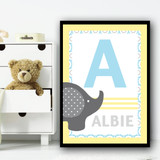 Baby Elephant Any Initial & Any Name Blue Grey Personalised Wall Art Print