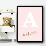 Light Pink Gold Sparkle Any Initial Any Name Personalised Wall Art Print