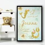 Mermaid Gold Circle Jellyfish Any Name Personalised Wall Art Print