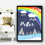 Mountain Clouds Hanging Ornaments Rainbow Any Name Personalised Wall Art Print
