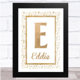 Music Note Rustic Border Any Name Any Initial Personalised Wall Art Print
