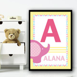 Baby Elephant Any Initial & Any Name Pink Personalised Wall Art Print