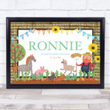 On The Farm Animal Texture Sunflowers Any Name Personalised Wall Art Print