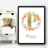 Peach Floral Wreath Gold Any Initial Any Name Personalised Wall Art Print
