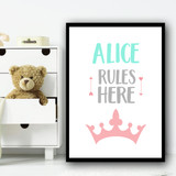 Pink Crown Rules Here Any Name Personalised Wall Art Print
