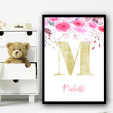 Pink Floral Gold Any Initial Any Name Personalised Wall Art Print
