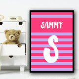 Pink Purple Stripe Any Name Any Initial Personalised Wall Art Print