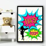 Pop Art Comic Super Hero Girl Any Name Personalised Wall Art Print