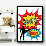 Pop Art Comic Super Hero Guy Any Name Personalised Wall Art Print