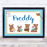 Baking Cakes Teddy Landscape Blue Personalised Wall Art Print