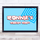 Roblox Blue Square Pattern Any Name Personalised Wall Art Print