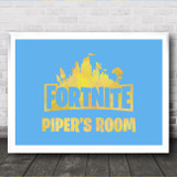 Set Fortnite Personalised Landscape Yellow Blue Personalised Wall Art Print