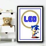 Sonic Gold Ring Any Name Personalised Wall Art Print
