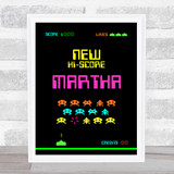 Space Invaders Neon Any Name Personalised Wall Art Print