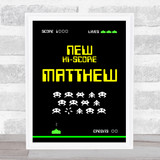 Space Invaders Retro Gaming Any Name Personalised Wall Art Print
