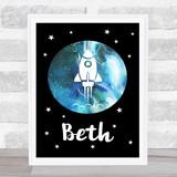 Space Rocket Galaxy Moon Black Any Name Personalised Wall Art Print