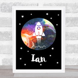 Space Stars Watercolour Galaxy Any Name Personalised Wall Art Print