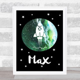 Space Stars Watercolour Galaxy Green Any Name Personalised Wall Art Print