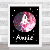 Space Stars Watercolour Galaxy Red Any Name Personalised Wall Art Print