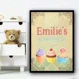 Baking Vintage Cupcakes Bake House Any Name Personalised Wall Art Print