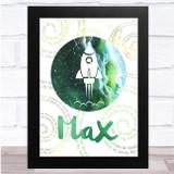 Space Watercolour Galaxy Spirals Rocket Green Personalised Wall Art Print