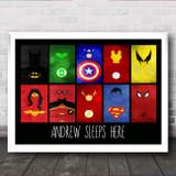 Superhero's Avengers And Dc Any Name Personalised Wall Art Print
