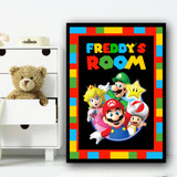 Super Mario Colourful Squares Any Name Personalised Wall Art Print