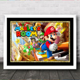 Super Mario Gold Frame Any Name Personalised Wall Art Print