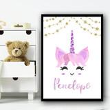 Unicorn Sparkle Glitter Watercolour Cute Any Name Personalised Wall Art Print
