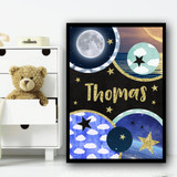 Universe Imagery Chalk Gold Sparkle Any Name Personalised Wall Art Print
