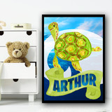 Water Colour Green Turtle Any Name Personalised Wall Art Print