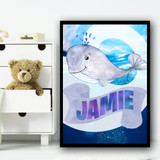 Water Colour Grey Whale Any Name Personalised Wall Art Print