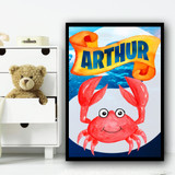Water Colour Red Crab Any Name Personalised Wall Art Print
