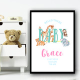 Watercolour Animals Hello There Personalised Wall Art Print