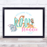 Watercolour Animals Landscape Room Personalised Wall Art Print