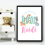 Watercolour Animals Room Any Name Personalised Wall Art Print