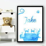Watercolour Blue Multiple Cats Any Name Personalised Wall Art Print
