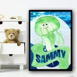 Watercolour Green Jellyfish Any Name Personalised Wall Art Print