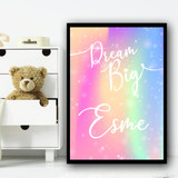 Watercolour Rainbow Sparkle Dream Big Any Name Personalised Wall Art Print