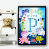 Watercolour Sea Creatures Any Initial Personalised Wall Art Print