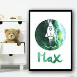 Watercolour Space Rocket Galaxy Moon Green Any Name Personalised Wall Art Print