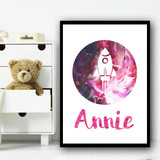 Watercolour Space Rocket Galaxy Moon Pink Any Name Personalised Wall Art Print