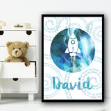Watercolour Space Rocket Galaxy Moon Spiral Any Name Personalised Wall Art Print