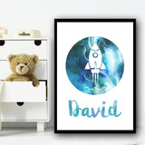 Watercolour Space Rocket Galaxy Moon White Any Name Personalised Wall Art Print