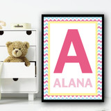 Any Initial Any Name Pink Zigzag Personalised Wall Art Print