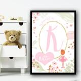 Ballerina Red Hair Pastel Floral Pink Personalised Wall Art Print