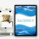 Waves & Sea Any Name Personalised Wall Art Print