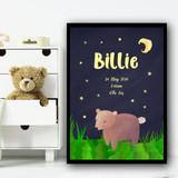 Bear At Night Birth Date Yellow Personalised Wall Art Print