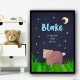 Bear At Night Blue Any Name Any Date Any Weight Personalised Wall Art Print