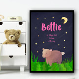 Bear At Night Pink Any Name Any Date Any Weight Personalised Wall Art Print
